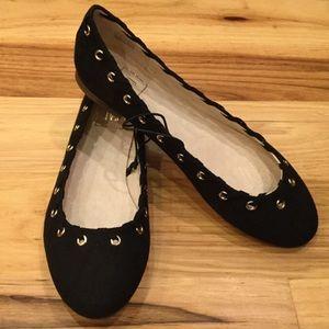 Women's Black Faux Suede & Gold Detail Flat Shoes